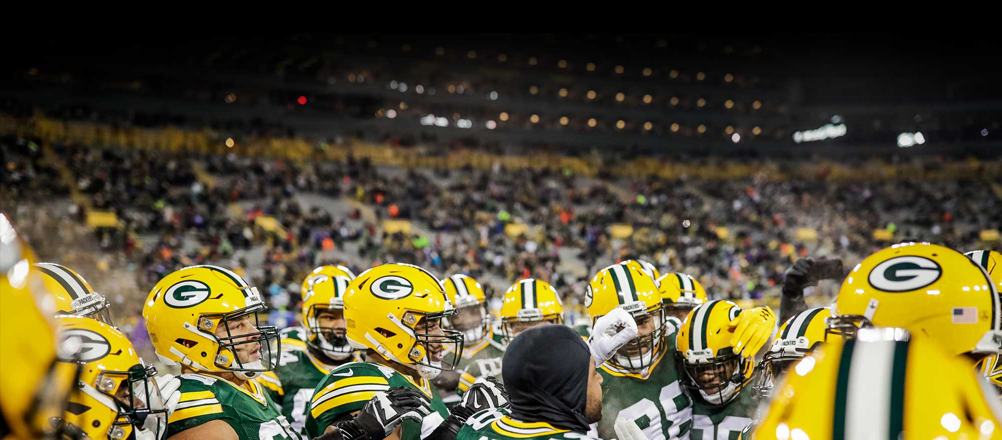 Packers football team at Lambeau Stadium