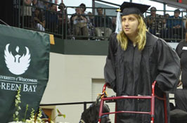 Toil, then triumph: Grad learns to walk for commencement