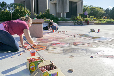 Pattern and Perimeter: Chalk art on the plaza