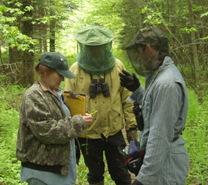 Volunteers in protective mosquito gear. Photo by R. Howe.