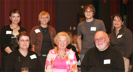 Edna Damkoehler, daughter-in-law Toni and son David with students Leah Lindsley and Erica Millspaugh, alum Paul Dax '02 and Veronica Corpus-Dax.