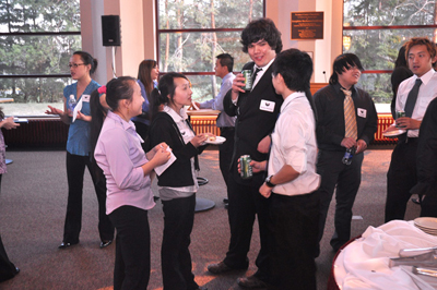 students at networking night.