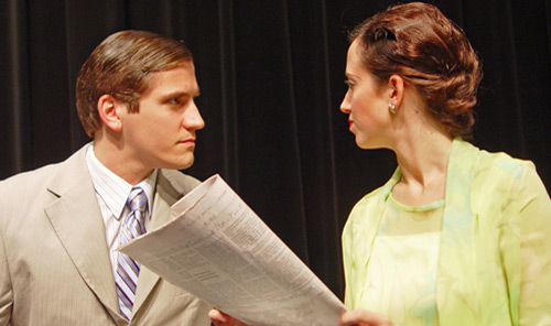 Derek Sklenar as Charles and Alison Tyler as Ruth in UW-Green Bay theatre's November production of Blithe Spirit
