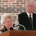 Betsy and Phil Hendrickson during the 2004 dedication of the Philip J. and Elizabeth B. Hendrickson Community Center