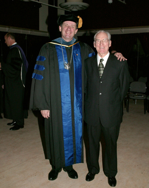 Photo: Chancellor Bruce Shepard presented a Chancellor's Award to Robert Southard.