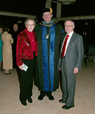 Photo: Retired educators Bernard and Sally Killoran posed with Chancellor Shepard prior to receiving Chancellor's Awards.