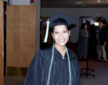 Photo: Dushani Corea-Dharmaratne of Sri Lanka was among the international students graduating Saturday.