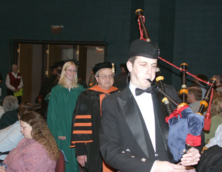 Photo: Bagpiper David Bradley led the processional at commencement ceremonies.