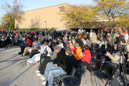 Photo: Crowd outside the Phoenix Sports Center for a groundbreaking ceremony.