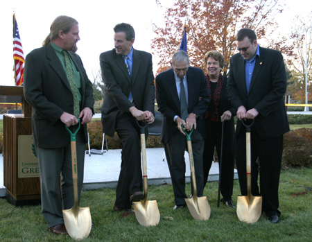 Photo: From left are John Kress, president of the George F. Kress Foundation, Chancellor Bruce Shepard of UW-Green Bay, Jim Kress and his wife, Julie, and student government president Nathan Petrashek.