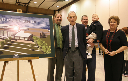 Photo: Kress family members who attended Tuesday's groundbreaking are Jim and Julie Kress, joined by Jim's sons John and Will (holding his own son).