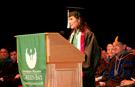 Photo: Student commencement speaker Carolina Bacelis.