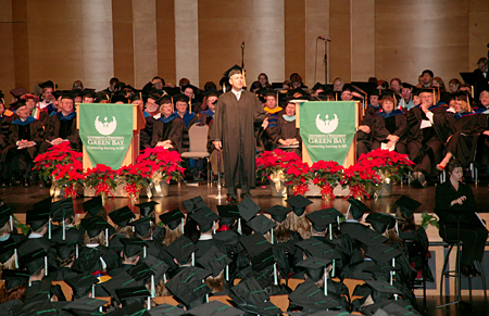 Photo: Commencement speaker Mark King offers words of wisdom for the graduates.