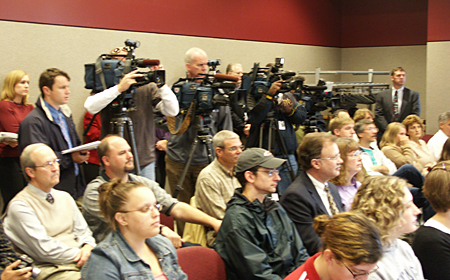 Photo: Local media covered the news conference in the University Union.