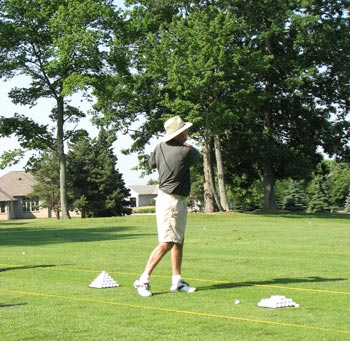 Photo: Tom Barry at driving range.