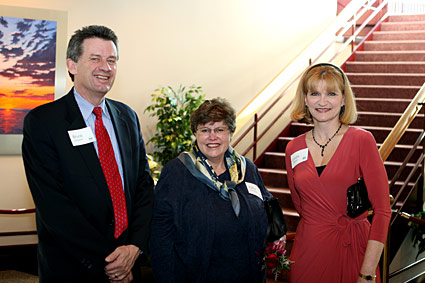 Photo: Kathleen Christensen poses with Chancellor and Cyndie Shepard.