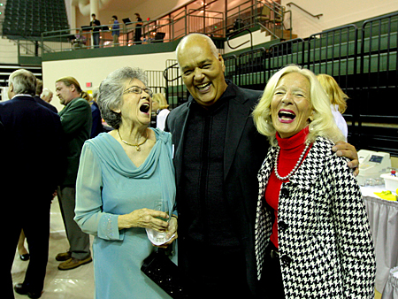 Photo: Marge Weidner and Norbert and Mary Anne Hill enjoy themselves at the reception.