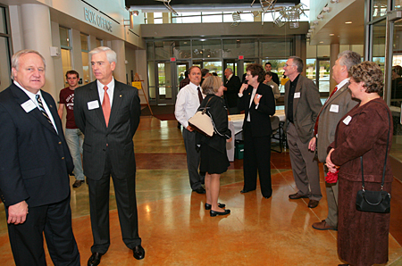 Photo: State legislators, UW Regents and others gathered in the main corridor before taking tours.