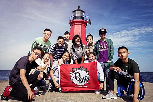 UW-Green Bay, Marinette Campus international students visit the Marinette Harbor lighthouse