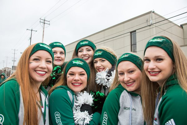 UW-Green bay cheerleaders pose for a photograph.