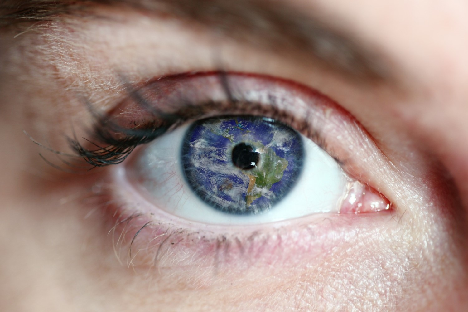 Image of the world in an eye