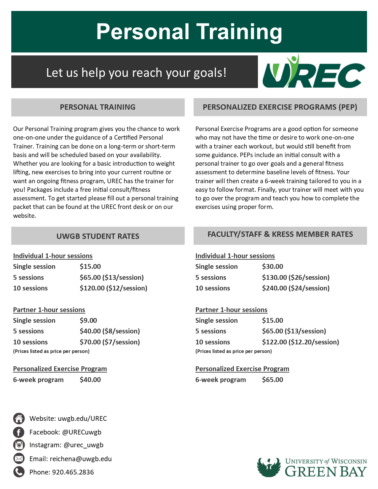 Personal Training - Fitness - UREC - UW-Green Bay