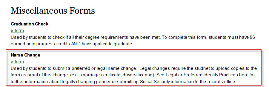 Legal or Perferred Identity Practices - Policies - Registrar - UW