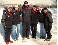 Butch Reimer with Carolyn Freeman and other members of the Nordic Ski team.