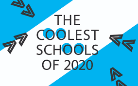 Yellow and white banded image with arrows pointing to the center. | The Coolest Schools of 2019