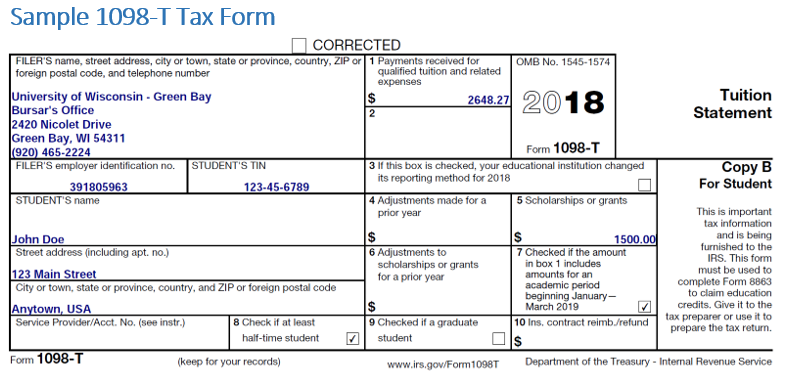 Sample 1098-T Tax Form