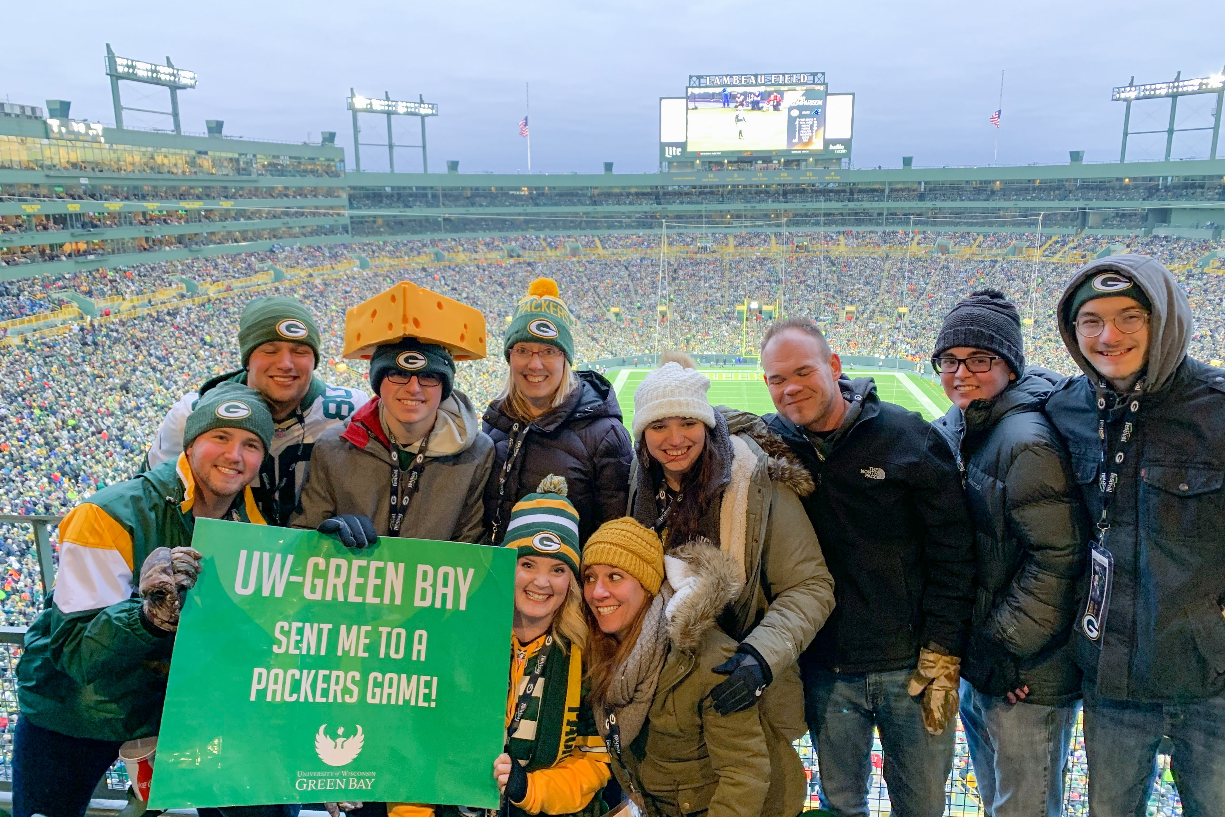 Photo of UWGB folks at Packers game