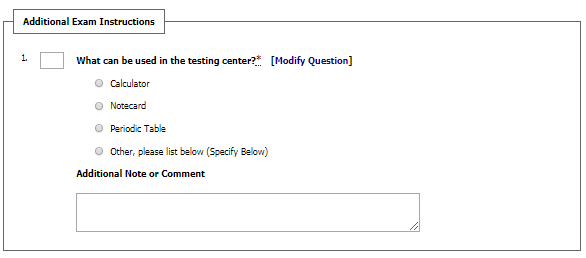 Instructor direction sample Testing contract question