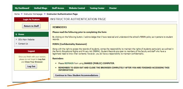 Instructor Authentication Page FERPA statement