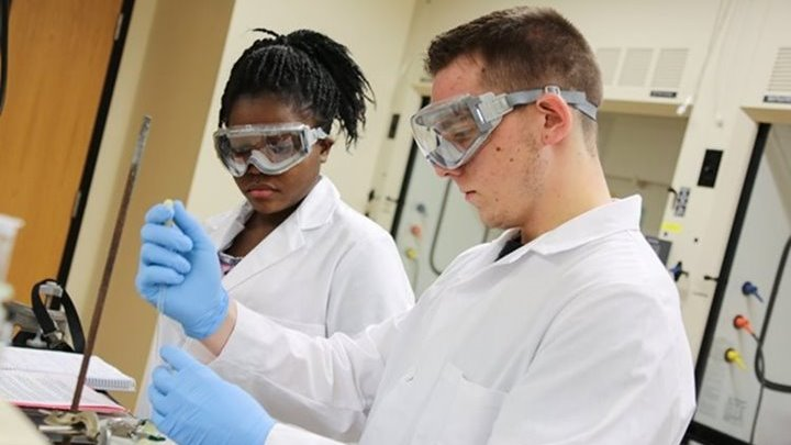 UW-Green Bay students with lab equipment