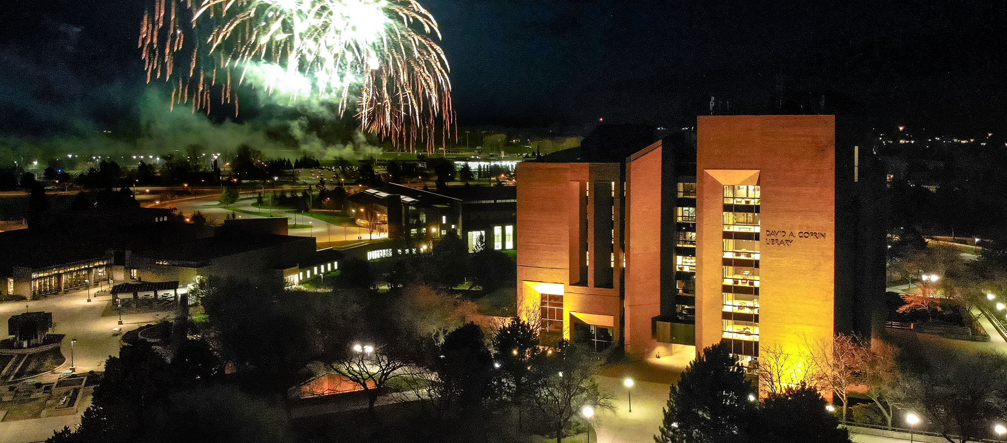Fireworks over Library