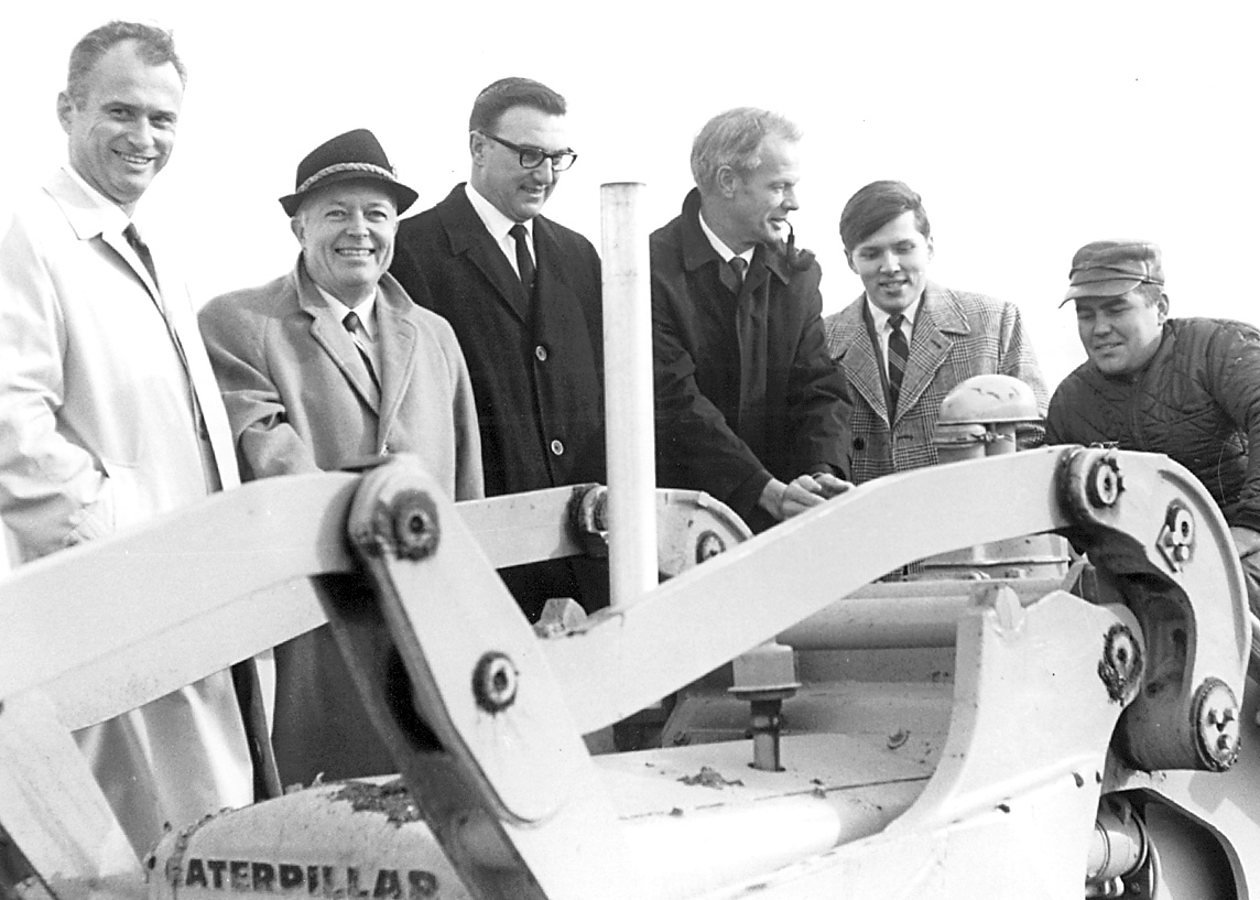 Ground breaking for the University's first buildings: (L-R) Rudy Small, Jack Nash, Myron Lotto, Don Tilleman, Scott Knapp, Edmund Gersek