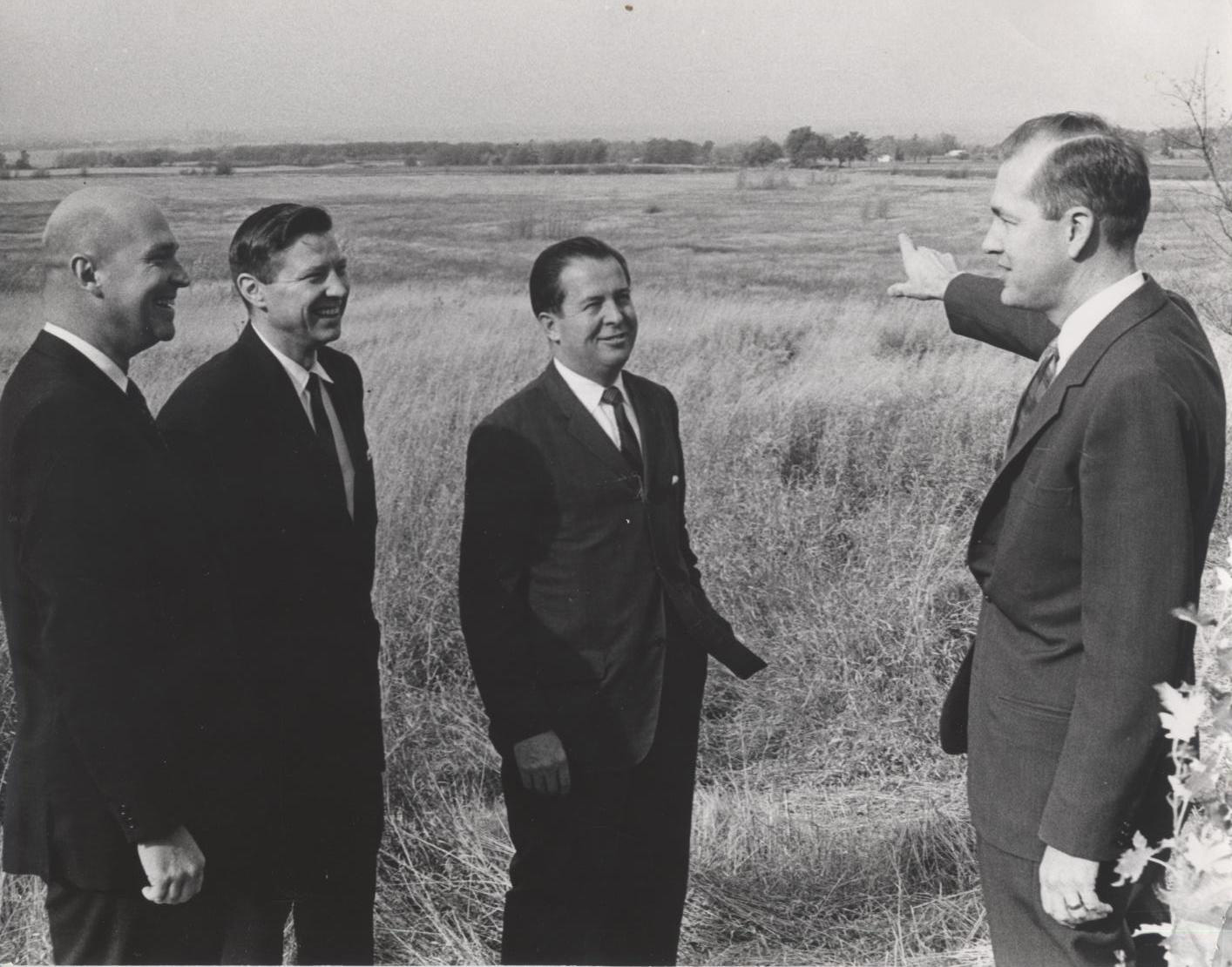 Campus site tour, September 1967 (L-R) Robert Maier, Raymond D. Vlasin, Russell White, Edward Weidner
