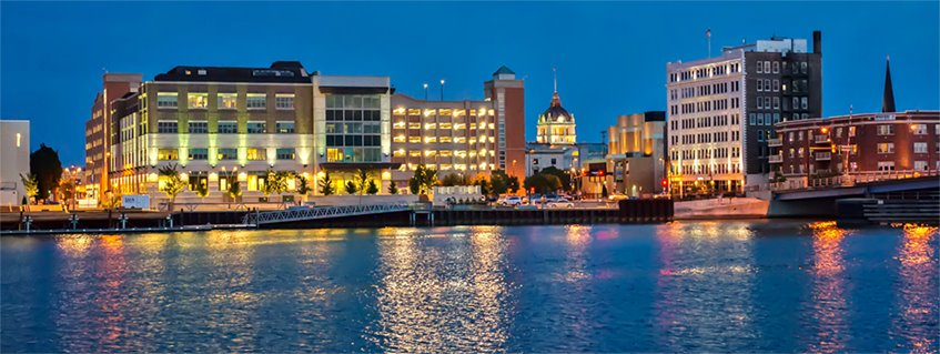 Downtown Green Bay Riverfront at Night